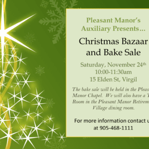 Radiant care pleasant manor auxiliary christmas bazaar & bake sale