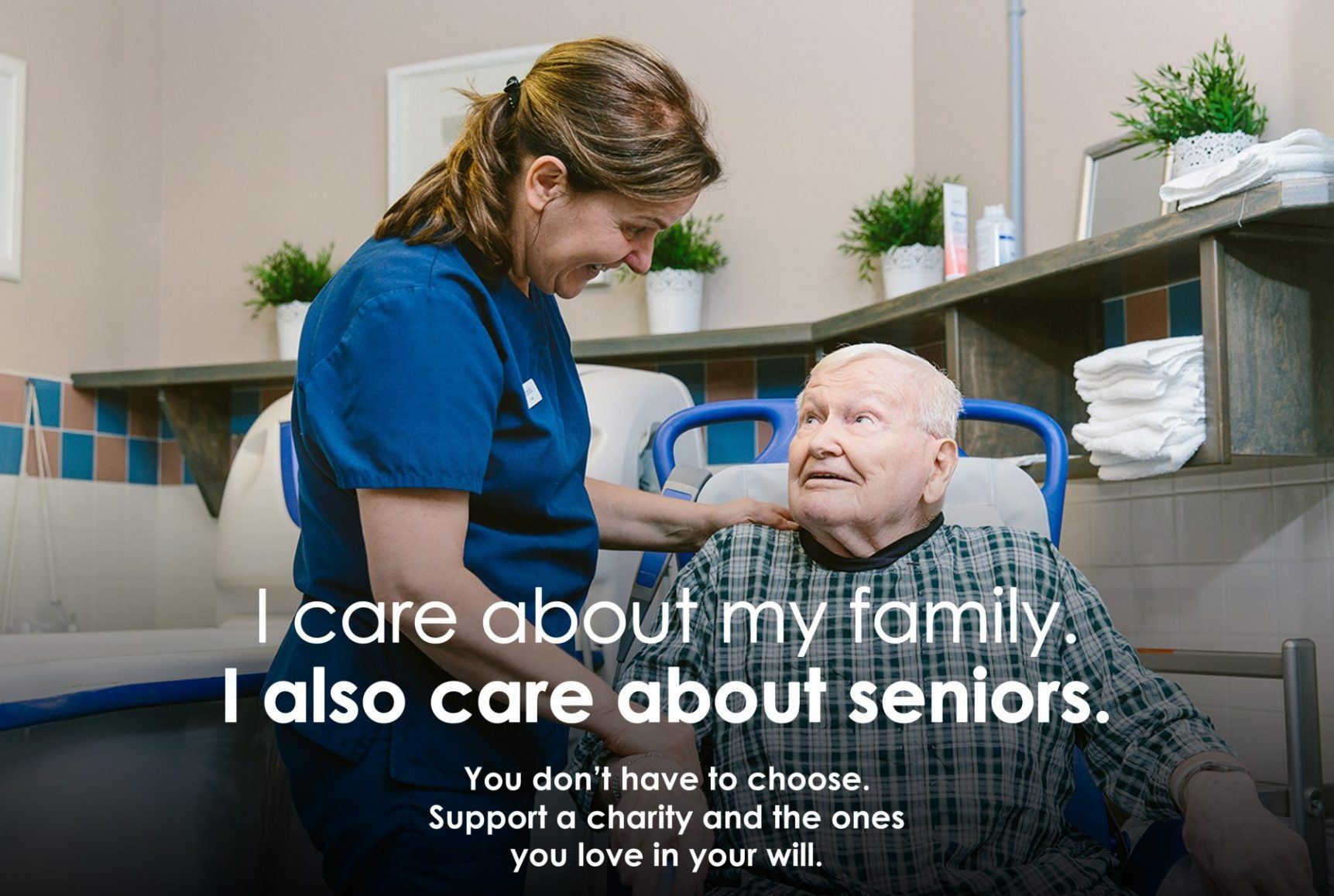 Health care worker assisting a senior